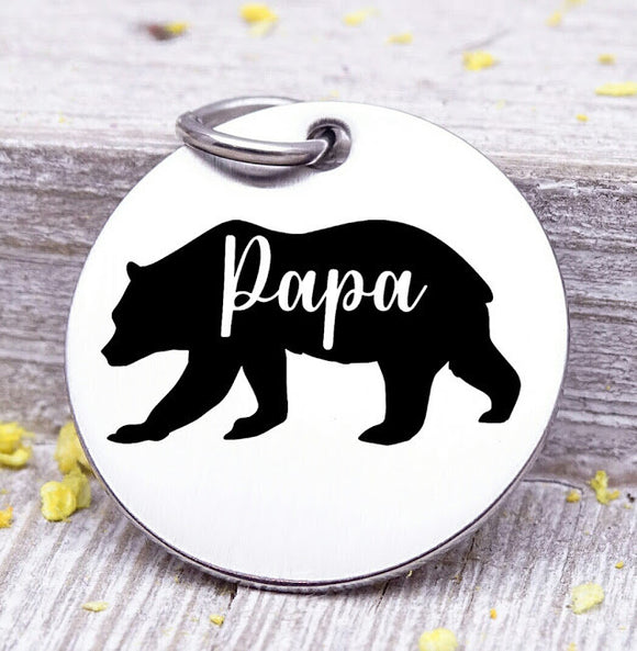 Papa bear, papa bear charm, bear charm, bear, papa charm, Steel charm 20mm very high quality..Perfect for DIY projects