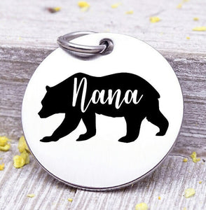 Nana bear, Nana bear charm, bear charm, bear, Nana charm, Steel charm 20mm very high quality..Perfect for DIY projects