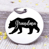 Grandma bear, Grandma bear charm, bear charm, bear, Grandma charm, Steel charm 20mm very high quality..Perfect for DIY projects