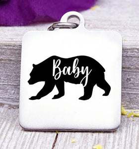 Baby bear, Baby bear charm, bear charm, bear, Baby charm, Steel charm 20mm very high quality..Perfect for DIY projects