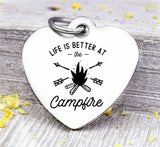 Life is better at the campfire, camping, campfire, campfire charms, Steel charm 20mm very high quality..Perfect for DIY projects
