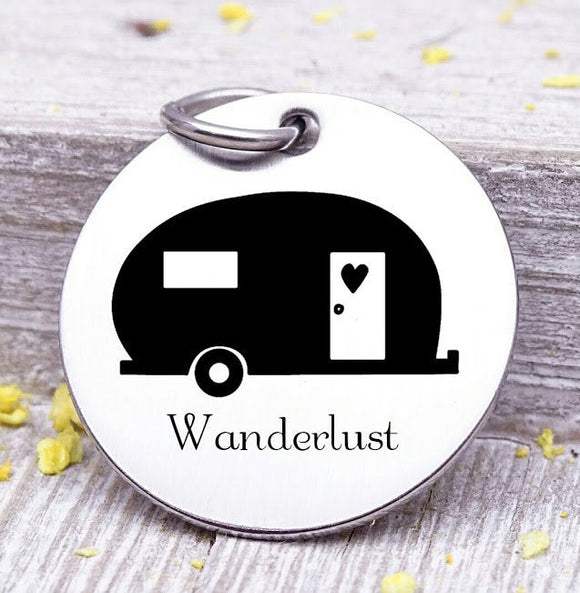Camper, wanderlust, camping, camper charm, adventure charms, Steel charm 20mm very high quality..Perfect for DIY projects