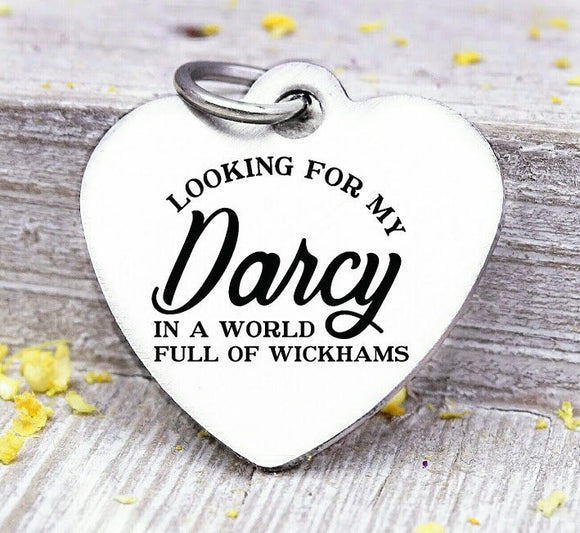 Looking for my Mr. Darcy, Jane Austin charm, mr right, my man, man charm, Steel charm 20mm very high quality..Perfect for DIY projects