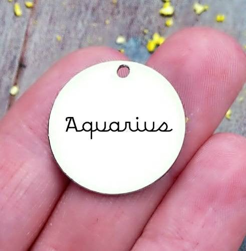 Aquarius, Aquarius charm, zodiac charm, steel charm 20mm very high quality..Perfect for jewery making and other DIY projects