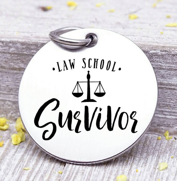 Law School survivor, law school grad, graduation, graduation charm, stainless steel charm