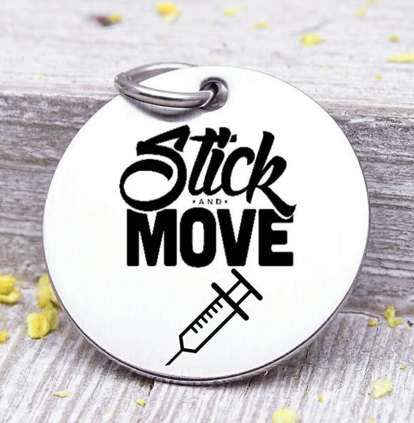 Stick and Move, stick and move charm, needle, needles, steel charm 20mm very high quality..Perfect for jewery making and other DIY projects
