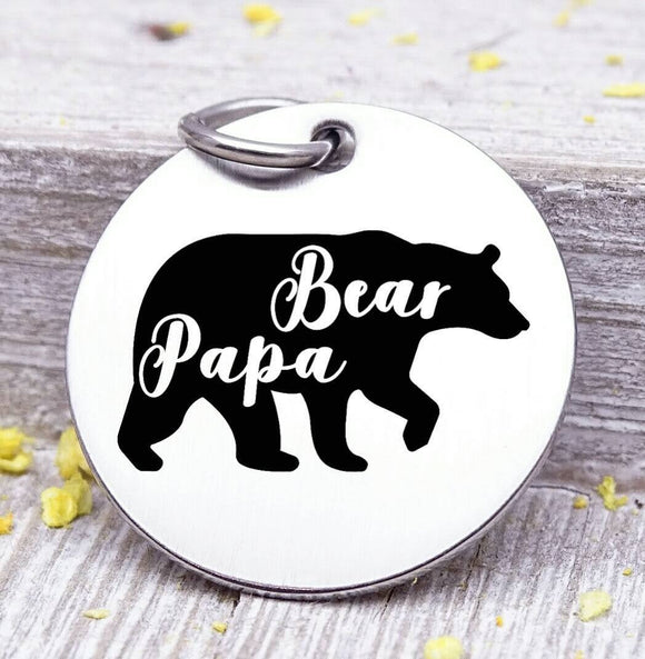 Papa Bear, Father's day, best dad, dad, dad charm, Father's day, Steel charm 20mm very high quality..Perfect for DIY projects