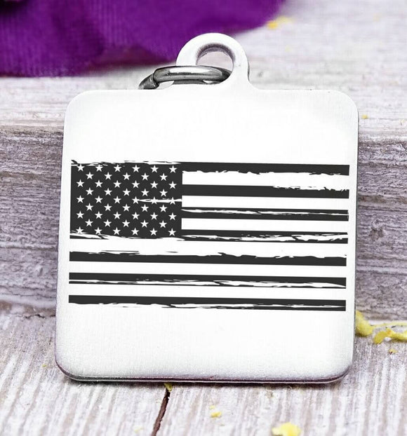 Flag, flag charm, freedom, land of the free, boho, charm, Steel charm 20mm very high quality..Perfect for DIY projects