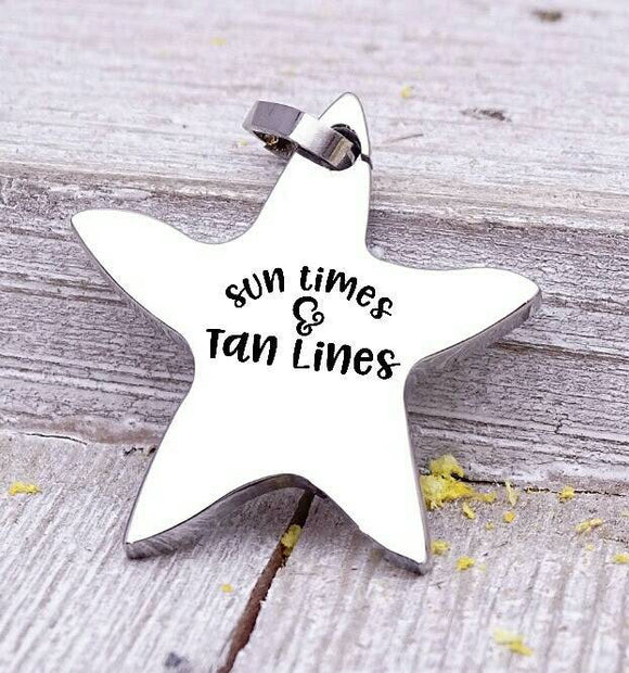 Sun times and tan lines charm, beach charm, steel charm 20mm very high quality..Perfect for jewery making and other DIY projects