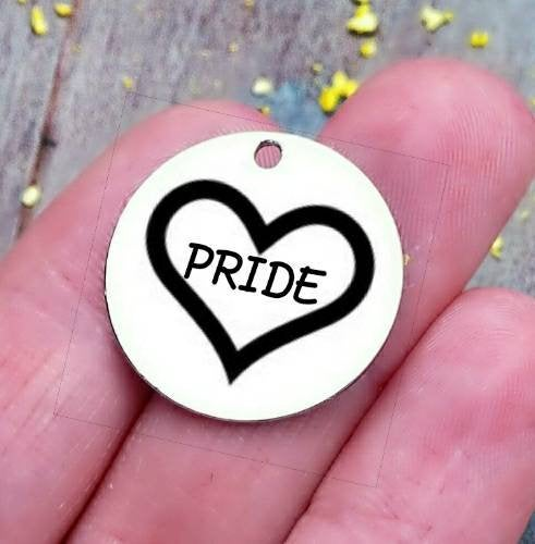 Pride, pride heart, pride charm, steel charm 20mm very high quality..Perfect for jewery making and other DIY projects