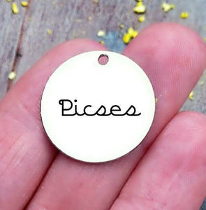 Pisces, Pisces charm, zodiac charm, steel charm 20mm very high quality..Perfect for jewery making and other DIY projects