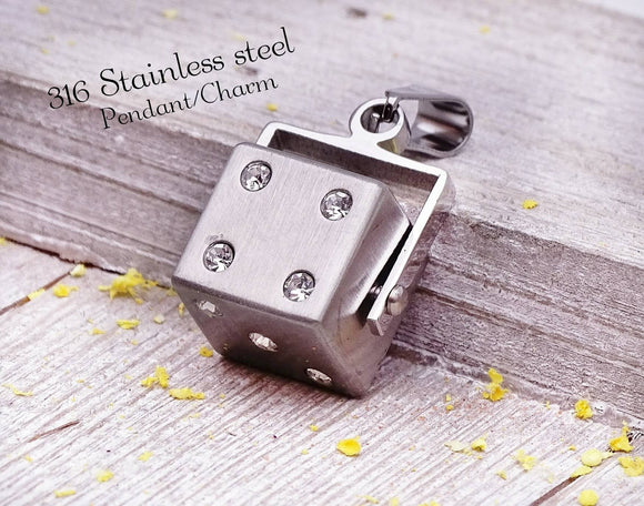 Dice pendant, steel pendant, stainless steel, high quality..Perfect for jewery making and other DIY projects