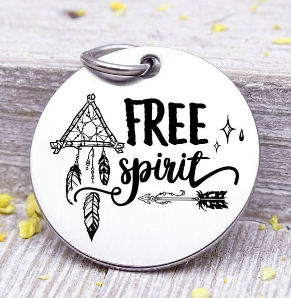 Free spirit, free spirit charm, dreamcatcher charm, wild, charm, Steel charm 20mm very high quality..Perfect for DIY projects