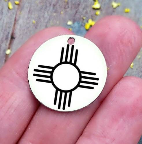 Zia, Zia charm, sunshine, sun charm, steel charm 20mm very high quality..Perfect for jewery making and other DIY projects