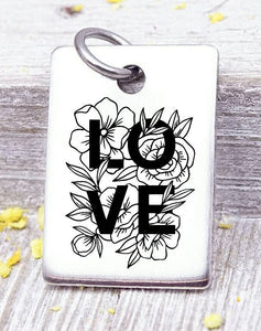 Love, Love charm, flowers, boho, flower charm, Steel charm 20mm very high quality..Perfect for DIY projects