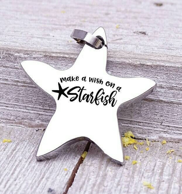 Make a wish on a starfish charm, beach charm, steel charm 20mm very high quality..Perfect for jewery making and other DIY projects