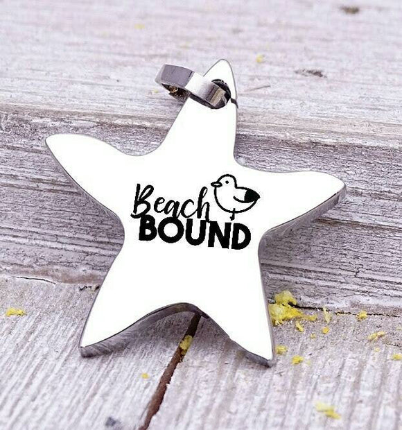 Beach bound charm, beach charm, steel charm 20mm very high quality..Perfect for jewery making and other DIY projects