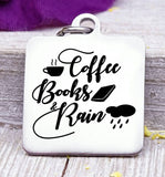 Coffee books and rain , coffee, books, rain charm, Steel charm 20mm very high quality..Perfect for DIY projects