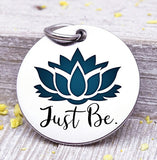 Just Be, Lotus, lotus charm, just be charm, Steel charm 20mm very high quality..Perfect for DIY projects