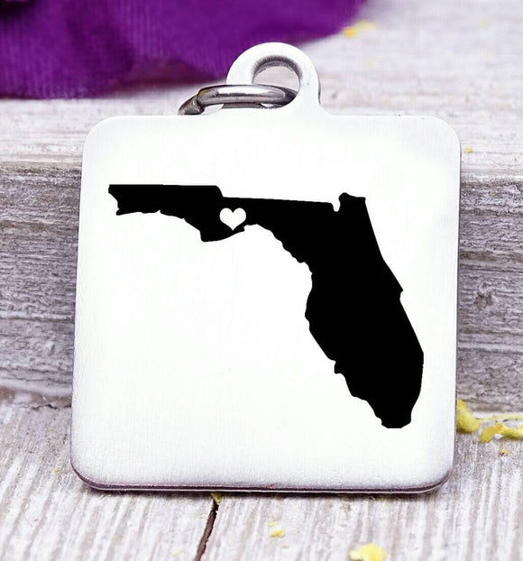 Florida, Florida charm, I love Florida, state charm, Steel charm 20mm very high quality..Perfect for DIY projects