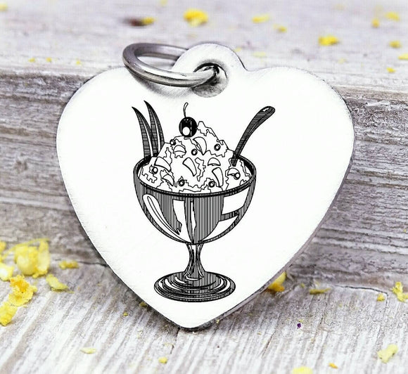 Ice cream, ice cream charm, sweets, dessert charm, Steel charm 20mm very high quality..Perfect for DIY projects