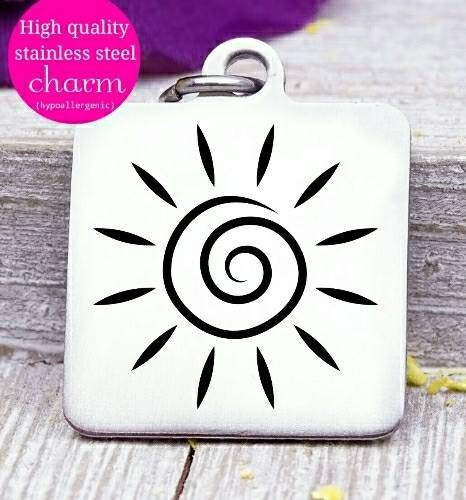 Sun, sun charm, sunshine, love sunshine, charm, Steel charm 20mm very high quality..Perfect for DIY projects
