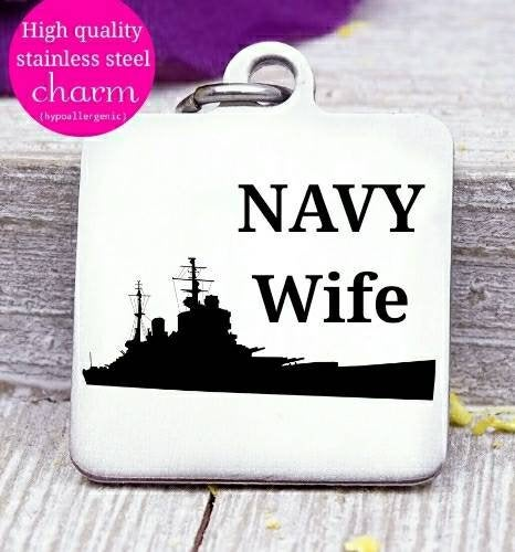 Navy wife, Navy, military wife, freedom, land of the free, boho, charm, Steel charm 20mm very high quality..Perfect for DIY projects