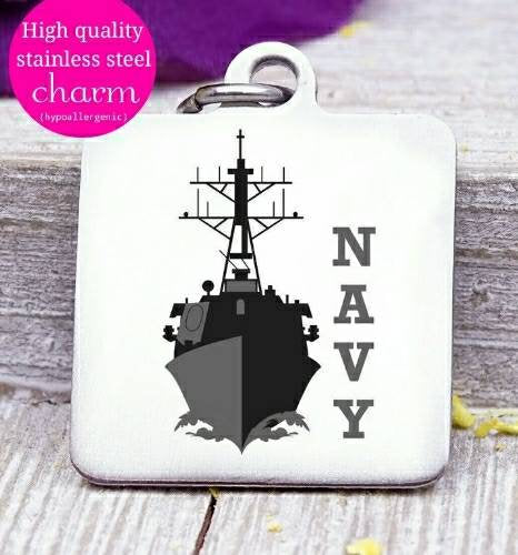Navy, Navy charm, military mom, freedom, land of the free, boho, charm, Steel charm 20mm very high quality..Perfect for DIY projects