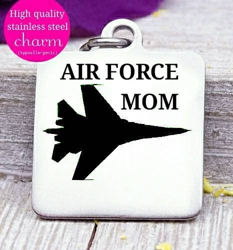 Air Force mom, air force, military mom, freedom, land of the free, boho, charm, Steel charm 20mm very high quality..Perfect for DIY projects