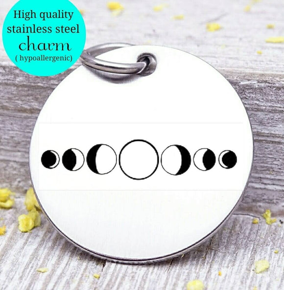 Moon Phases , moon, space, space charm, moon charms, Steel charm 20mm very high quality..Perfect for DIY projects