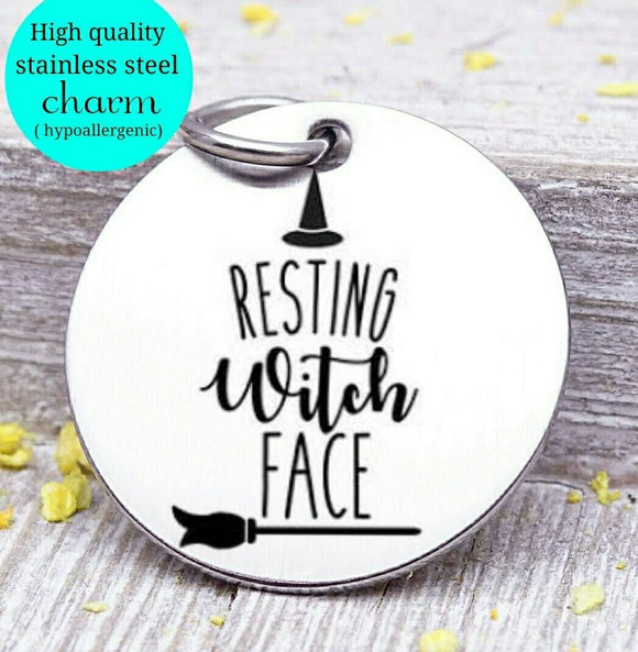 Resting witch face, witch, witch charm, halloween charm, Steel charm 20mm very high quality..Perfect for DIY projects