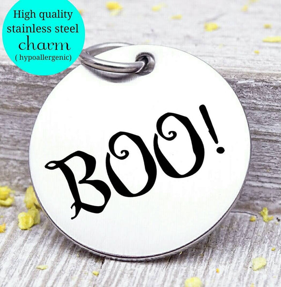 Boo, boo charm, ghost charm, halloween, Steel charm 20mm very high quality..Perfect for DIY projects
