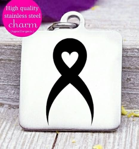 Cancer ribbon, Cancer awareness, ribbon charm, stainless steel charm 20mm very high quality..Perfect for DIY projects