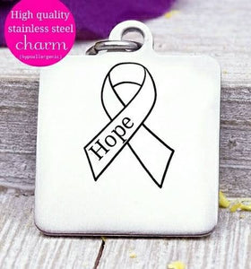 Hope, Cancer ribbon, Cancer awareness, ribbon charm, stainless steel charm 20mm very high quality..Perfect for DIY projects