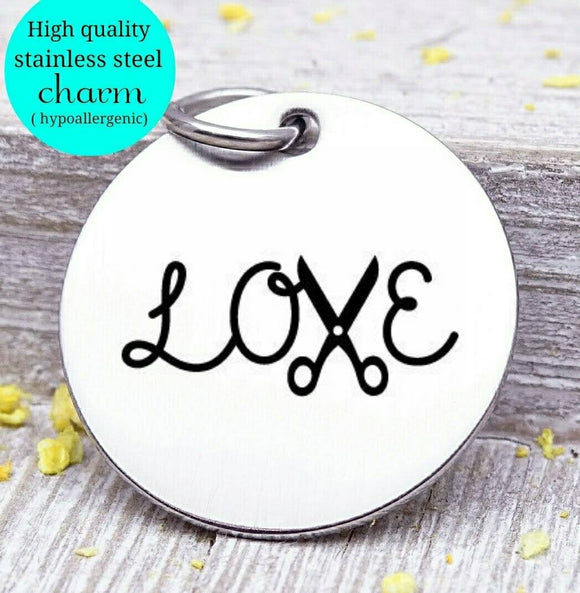 Love, hair dresser, love charm, i love you, love charms, Steel charm 20mm very high quality..Perfect for DIY projects
