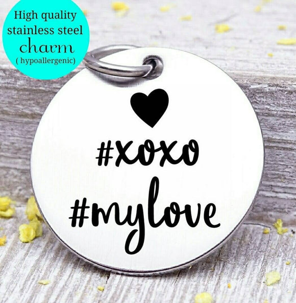 Love, xoxo, my love, love charm, i love you, love charms, Steel charm 20mm very high quality..Perfect for DIY projects