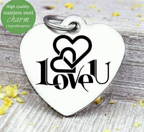 Love U, love charm, i love you, love charms, Steel charm 20mm very high quality..Perfect for DIY projects