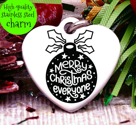 Merry Christmas Everyone, happy holidays charm, christmas, christmas charm, Steel charm 20mm very high quality..Perfect for DIY projects