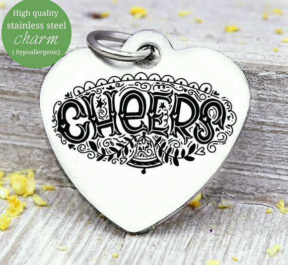 Cheers, Christmas, happy holidays charm, christmas, christmas charm, Steel charm 20mm very high quality..Perfect for DIY projects