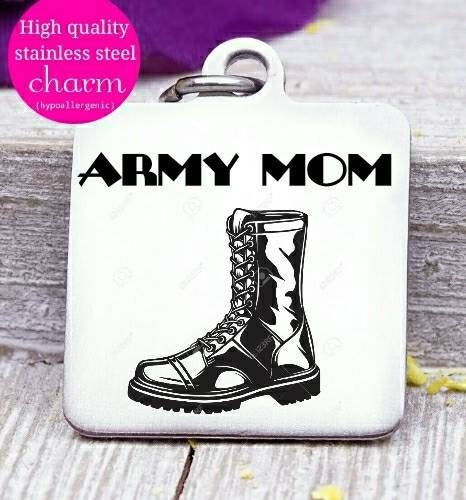 Army mom charm, army, military charm, steel charm 20mm very high quality..Perfect for jewery making and other DIY projects