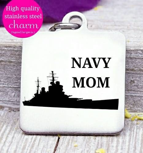 Navy mom, Navy, military mom, freedom, land of the free, boho, charm, Steel charm 20mm very high quality..Perfect for DIY projects