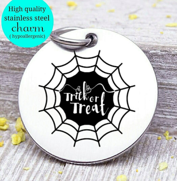 Trick or treat, Halloween, spiderweb, halloween charm, Steel charm 20mm very high quality..Perfect for DIY projects