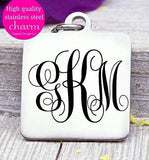 Monogram charm, monogram, initials, monogram charms, Steel charm 20mm very high quality..Perfect for DIY projects