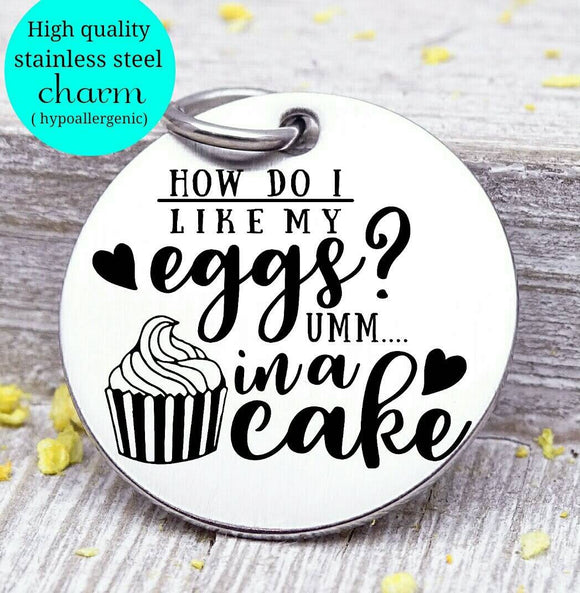Cake charm, cake, eggs, sweet tooth, baking charm, Steel charm 20mm very high quality..Perfect for DIY projects