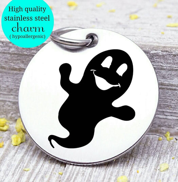 Ghost, ghost charm, Halloween, spooky charm, spooky, scary, Steel charm 20mm very high quality..Perfect for DIY projects