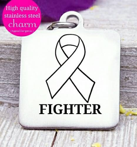 Fighter, Cancer ribbon, Cancer awareness, ribbon charm, stainless steel charm 20mm very high quality..Perfect for DIY projects