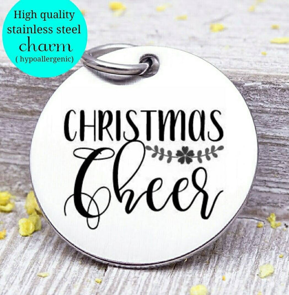 Christmas cheer, holiday cheer, holiday charm, christmas, christmas charm, Steel charm 20mm very high quality..Perfect for DIY projects