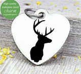 Deer, deer charm, hunting, hunting charm, deer charms, Steel charm 20mm very high quality..Perfect for DIY projects