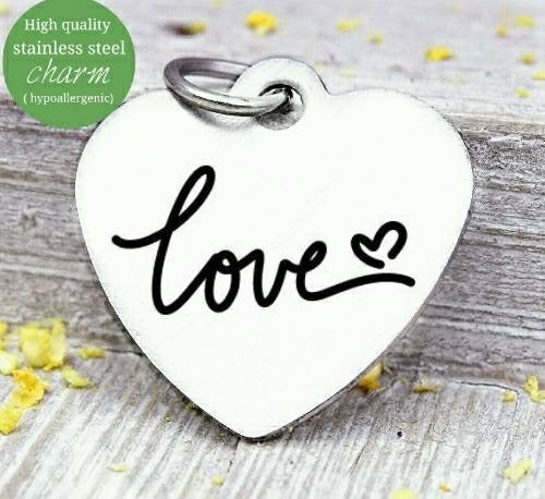 Love, love charm, i love you, love charms, Steel charm 20mm very high quality..Perfect for DIY projects