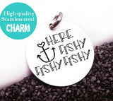 Here fishy, fishing charm, fishing, fish charm, Steel charm 20mm very high quality..Perfect for DIY projects